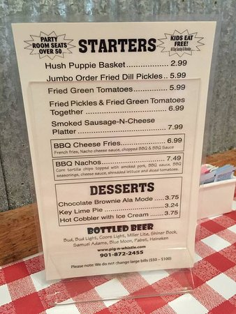 Millington, TN: This is just a shot of the starters menu.