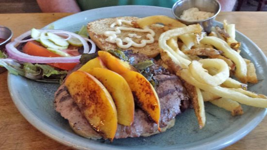 Palisade, CO: Burger with peaches and green chile - oh so good