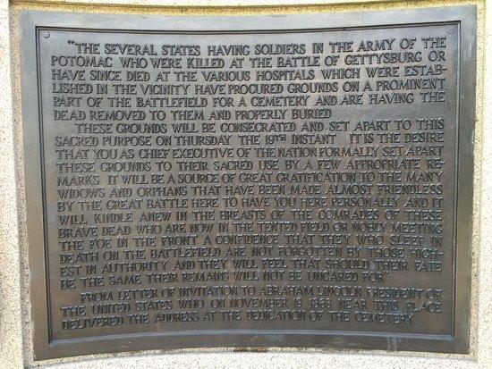 Геттисбургский национальный военный парк: Gettysburg National Military Park - Plaque at Lincoln Memorial