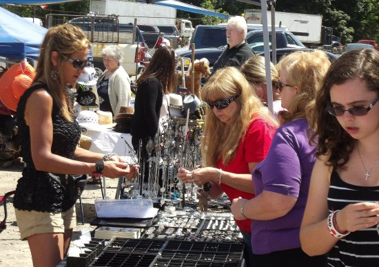 The outdoor vendor courtyard is a popular stop for residents