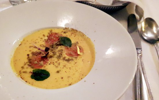 """Restaurant Laloux : Carrot and fir cream soup with marinated trout """"des Bobines"""" (MTLàTABLE 2016)"""
