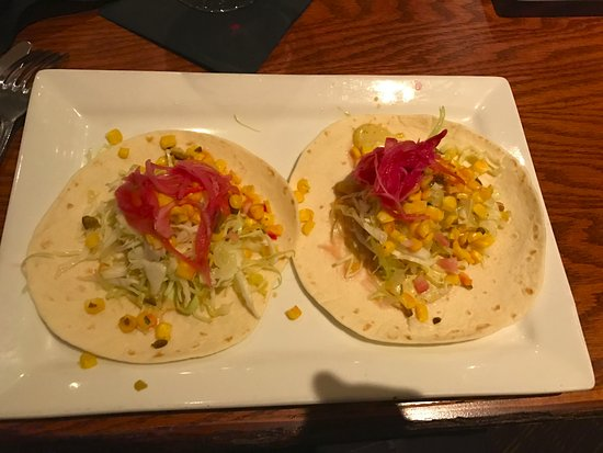 Stanwood, MI: This was my $17 Fish Tacos (shrimp added $4) flour shells 4in across