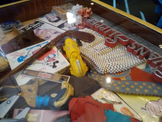 Morris, IL: Table top with memorabilia.