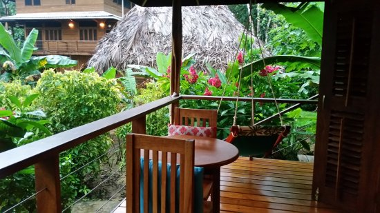 Private deck/porch off my room. To the right is the quiet area used for hammocks, reading and yo