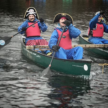 Chorley, UK: Pirate stag party canoe orienteering on Coniston Water last Saturday, what outfit would you wear
