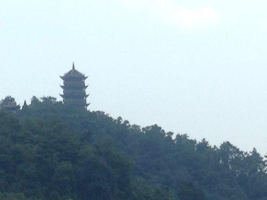 Dujiangyan, China: Pagoda on the mountain