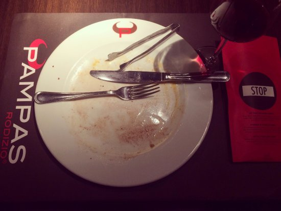 Pampas Rodizio: After you're finished or full then it is wise to turn your napkin upside down that says - STOP