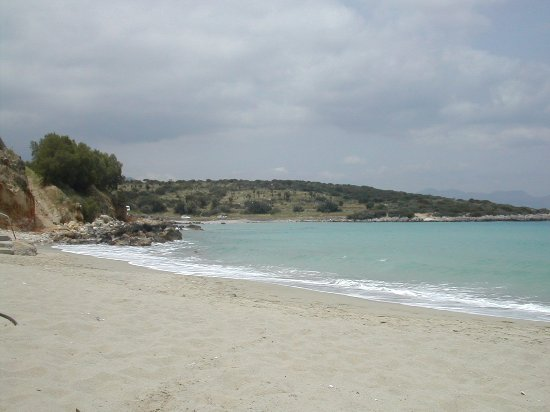 Istron, Greece: Golden Beach looking round to the smaller beach.