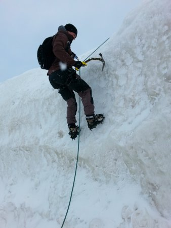 Macatawa, MI: Ice climbing off of the Holland State Park