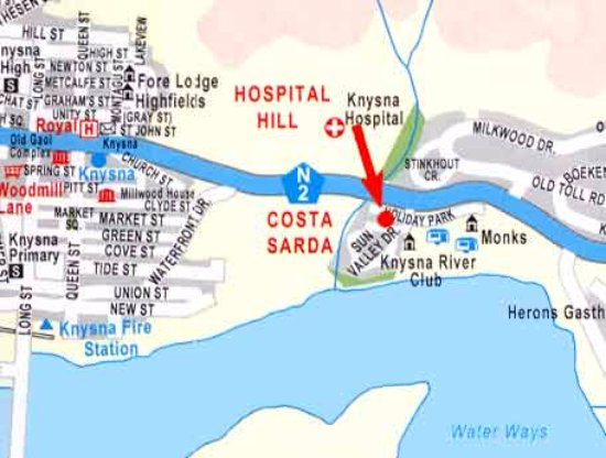 Knysna Fire Map.Map To Our B B In Knysna Picture Of Janets Of Knysna Guesthouse