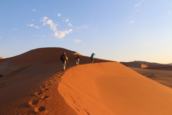 Namib-Naukluft Park, Namibië: Climbing in the cool of the sunrise!