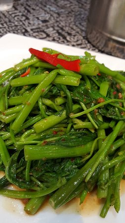 Hawker's Cuisine: Sambal Kangkong. Chinesse spinach with chilli.