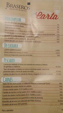 Braseros Restaurante : Carta (2017)