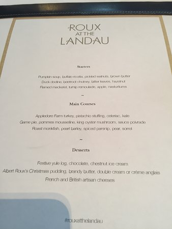Roux at The Landau: 15/12/16 - Menu