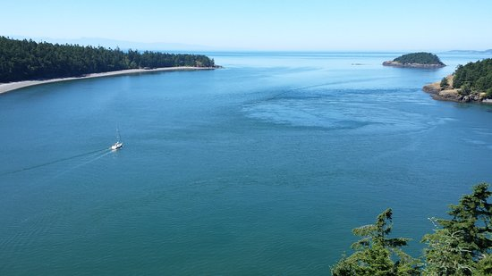 Oak Harbor, WA: Aview from the bridge in the afternoon looking west