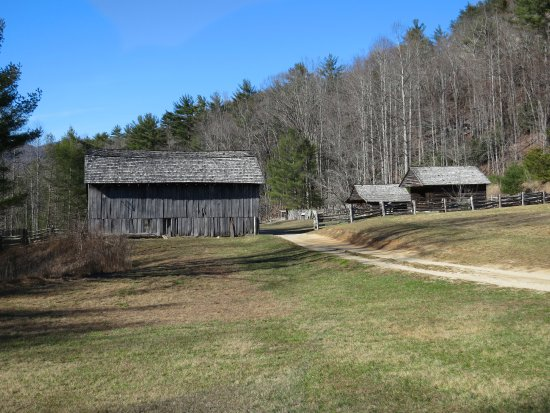 Roaring Gap, NC: View from the valley towards the barn, corn crib and blacksmith shop.