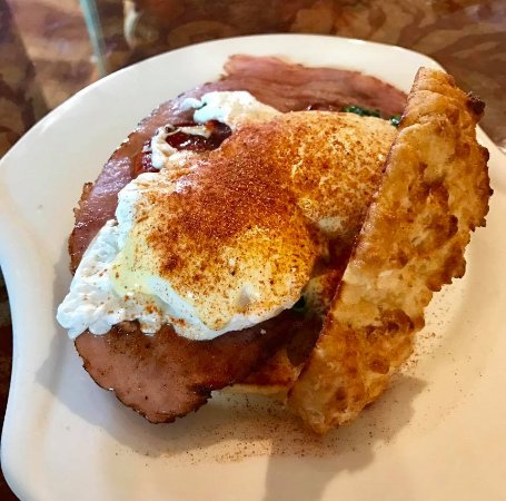 Brenham, TX: Eggs Benedict on a homemade biscuit.