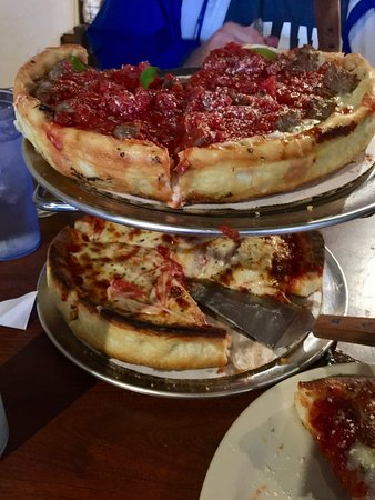 Queen Creek, AZ: Mag Mile deep dish on top, butter crust pepperoni underneath.