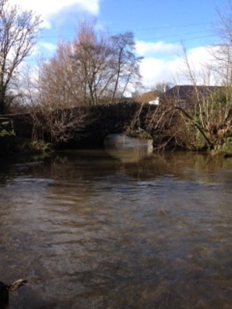 Ashprington, UK: Ford and bridge over the river next to the pub
