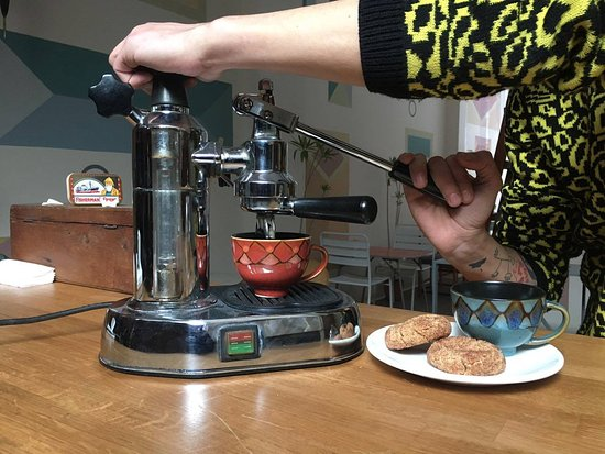 Retro espresso machine with cookies - Picture of Kanopi Cafe ...