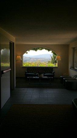 Hotel Terre di Casole: Stupenda vista sulle colline dalla Hall
