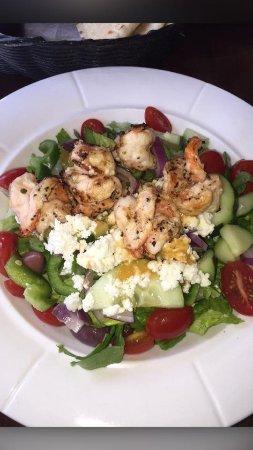 Whitestone, NY: salad with grilled shrimp