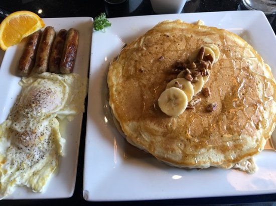 University Park, FL: Banana Pecan Pancakes ... banana's and pecans inside and on top