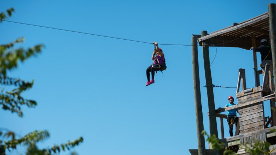 Roanoke, TX: A zip liner taking off on an exciting ride!