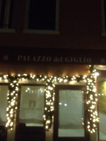 Palazzo del Giglio: l'ingresso, di sera