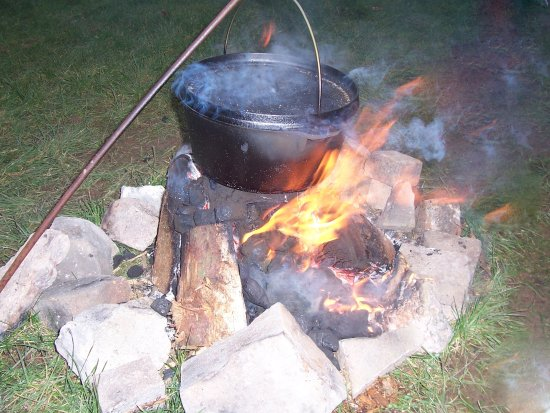 Shipham, UK: A Hot stew cooking over are camp fire.
