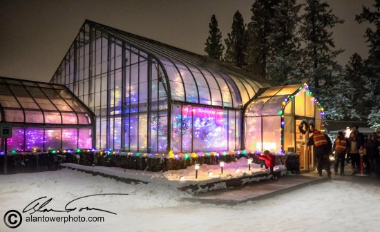 Manito Park Christmas Lights 2019 The conservatory during the holiday lights at Manito Park