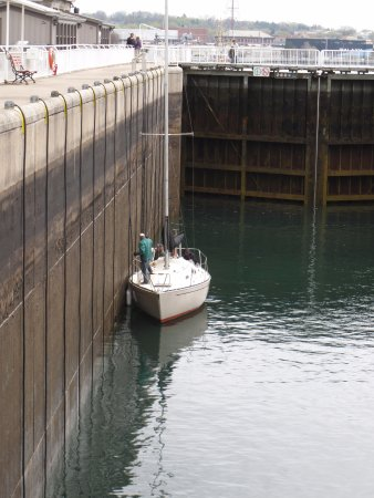 Sault Ste. Marie Canal National Historic Site: Lock gates are closed and the valves open to fill the lock and lift the boat,