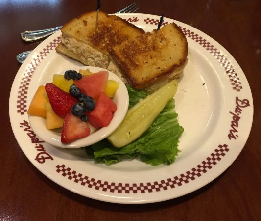 Fruit was terrific. Tuna melt was better than plain sandwich.