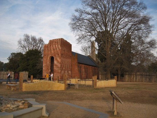 Historic Jamestowne: archaeological reconstruction of Jamestown. House foundations behind church; museum nearby