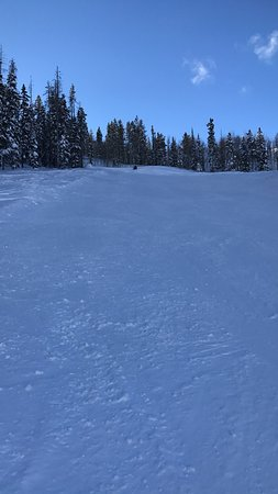 Pinedale, WY: Looking toward the top of the hill on the third black diamond from the lift.