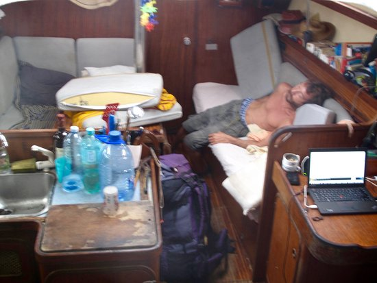 Guna Yala Region, Panama: Hungover captain Elerig of ship Dances with Waves passed out at 8AM...