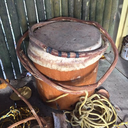 Seine Bight Village, Belize: Drum in progress