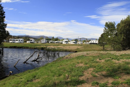 Huon Valley Caravan Park right beside the river.