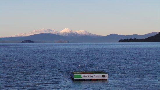PRINCE Motor Lodge is just a 2-minute walk to Great Lake Taupo - and ths is the view in winter.