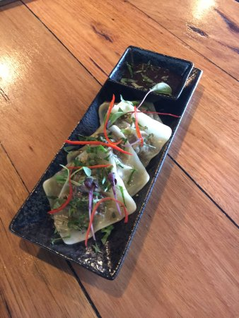 Tugun, Australien: Japanese Salad, Snapper & Scallop Dumplings, Japanese Salad, Mushroom Gyoza, The Team, Chocolate