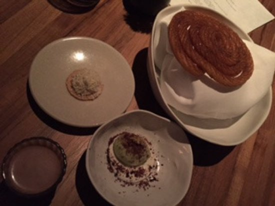 dessert - churros , hot chocolate , avocado ice cream , cheese biscuit