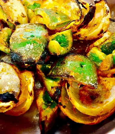 Fire & Spice Bar & Kitchen: Roasted Pepper & Onion for Skewers