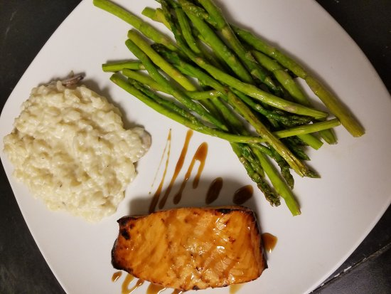 Smethport, PA: Maple Bourbon glazed Salmon with Mushroom Parma Risotto