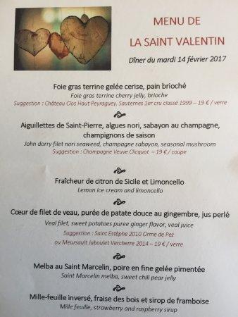 Le Tignet, France: Menu Saint Valentin 2017