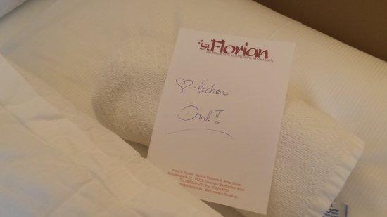 Frauenau, เยอรมนี: So nett bedankt sich der Zimmer Service für ein Trinkgeld