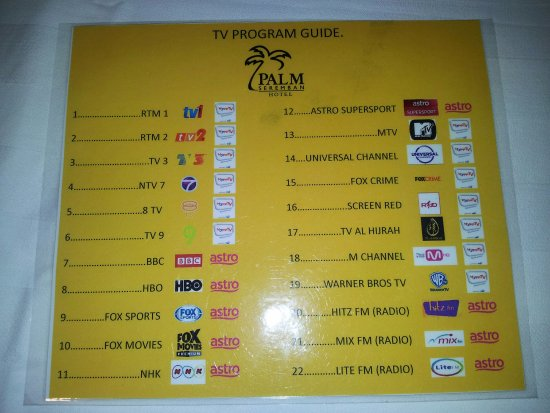 TV channels guide - Picture of Palm Seremban Hotel - TripAdvisor