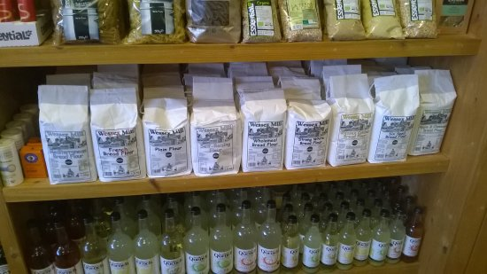 Chewton Mendip, UK : an array of different types of flour
