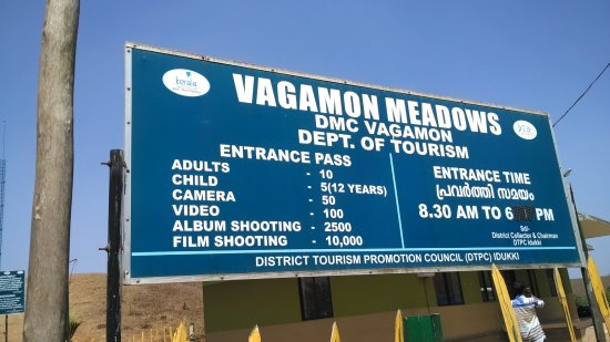 Vagamon, India: Entry board