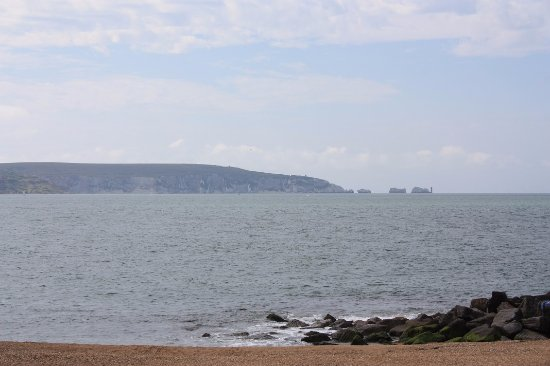 Milford on Sea, UK: A view of the Needles from the spit.
