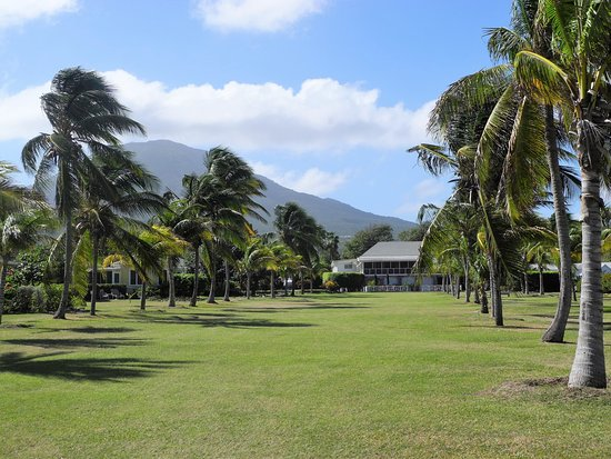 Newcastle, Nevis: The Great House - Mt Nevis behind
